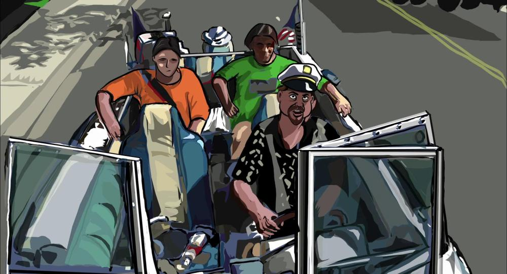 crowd in boat - good example of shadows realistic look